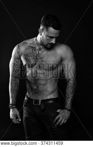 Muscular Torso. Jewelry For Real Men. Bearded Man With Tattooed Torso. Macho Sexy Bare Torso. Fit Mo