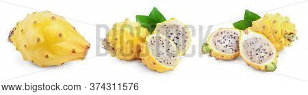 Ripe Dragon Fruit, Pitaya Or Pitahaya Yellow Isolated On White Background, Fruit Healthy Concept. Se