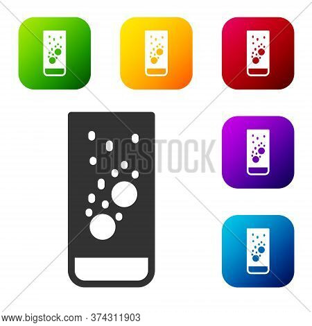 Black Effervescent Aspirin Tablets Dissolve In A Glass Of Water Icon Isolated On White Background. S