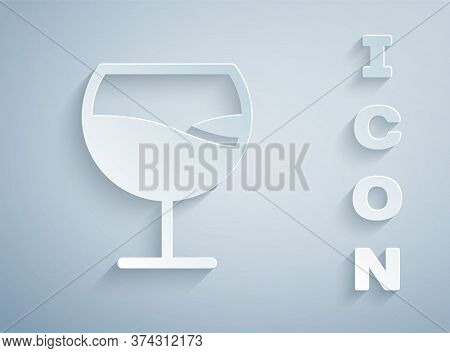 Paper Cut Wine Glass Icon Isolated On Grey Background. Wineglass Sign. Paper Art Style. Vector Illus