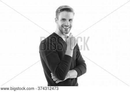Barber Services. He Always Looks Impeccable. Looking Trendy. Facial Care. Handsome Man Isolated On W