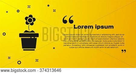 Black Flower In Pot Icon Isolated On Yellow Background. Plant Growing In A Pot. Potted Plant Sign. V