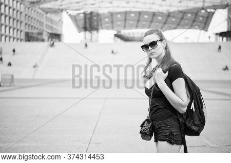 Must Visit Places Check List. Sightseeing Tour. Girl Tourist Sunglasses Enjoy City Center. Woman Urb