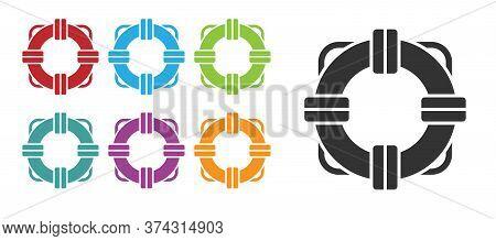 Black Lifebuoy Icon Isolated On White Background. Lifebelt Symbol. Set Icons Colorful. Vector Illust