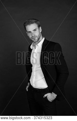 Remaining Conservative In Style. Stylish Businessman Dark Background. Modern Man In Office Style. Pr