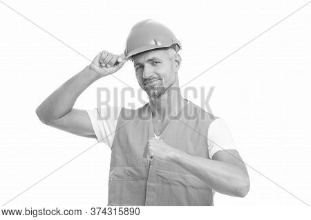 Architect Control. Everything Is Under Control. Safety Concept. Man Wear Protective Hard Hat And Uni