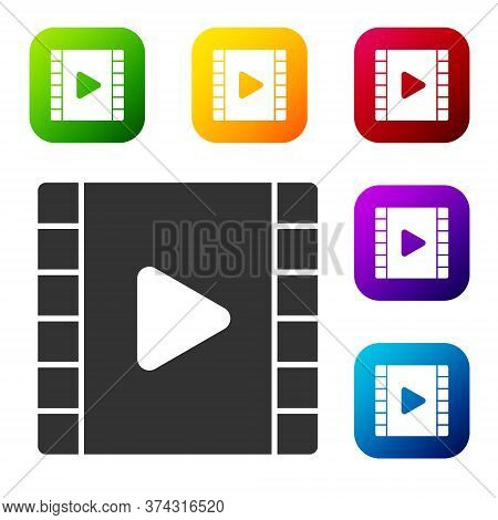 Black Play Video Icon Isolated On White Background. Film Strip With Play Sign. Set Icons In Color Sq
