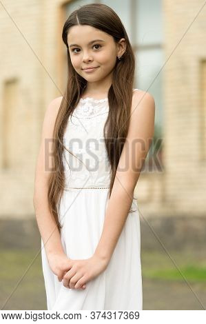 Its All For Being A Girl. Small Girl Outdoors. Beauty Look Of Child Girl. Little Girl In Summer Styl