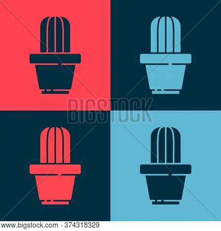 Pop Art Cactus And Succulent In Pot Icon Isolated On Color Background. Plant Growing In A Pot. Potte