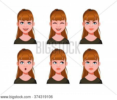 Emotions Of Cute Lady. Face Expressions Of Woman With Brown Hair. Different Female Emotions, Set. Be