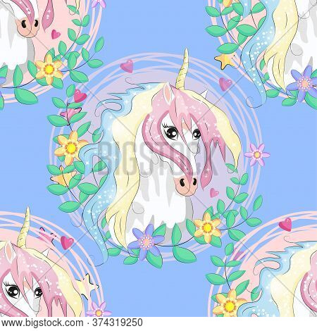 Seamless Pattern With Cute Unicorns, Heart, Clouds, Rainbow And Stars. Magic Background With Little