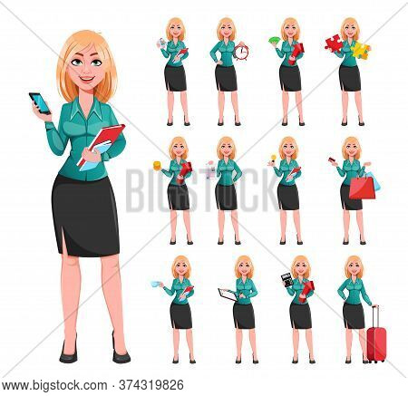 Young Successful Business Woman, Set Of Thirteen Poses. Beautiful Blond Businesswoman Cartoon Charac