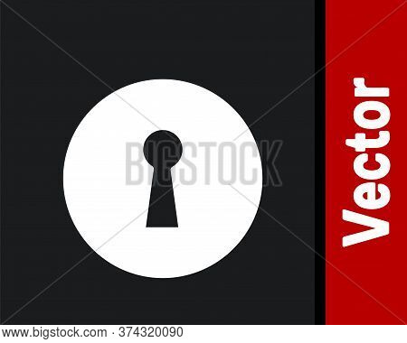White Keyhole Icon Isolated On Black Background. Key Of Success Solution. Keyhole Express The Concep