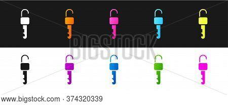 Set Unlocked Key Icon Isolated On Black And White Background. Vector Illustration