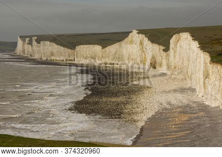 The Seven Sisters Chalk Cliffs At Birling Gap Near Seaford In East Sussex, England