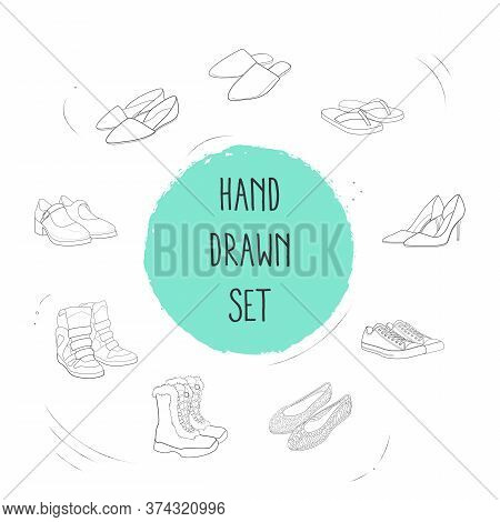 Set Of Design Icons Line Style Symbols With Converse Shoes, Jellies Shoes, Wedge Sneakers And Other