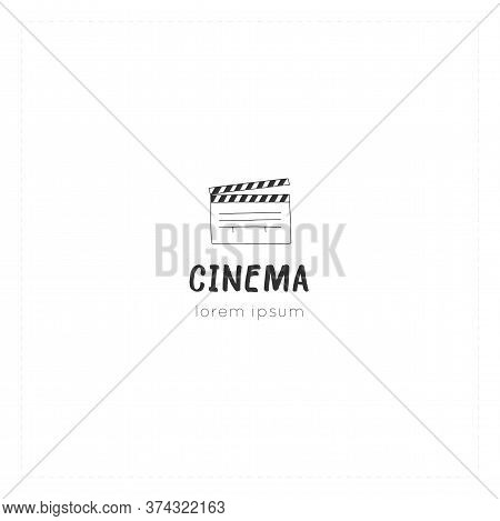 A Clapperboard, Vector Hand Drawn Logo Template. Cinema Isolated Object, Cinematography Illustration