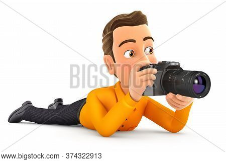 3d Man Lying Down With Camera, Illustration With Isolated White Background