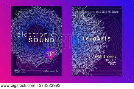 Trance Party. Dynamic Gradient Shape And Line. Curvy Concert Invitation Set. Neon Trance Party Flyer