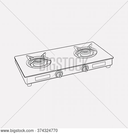 Electric Gas Stove Icon Line Element. Illustration Of Electric Gas Stove Icon Line Isolated On Clean