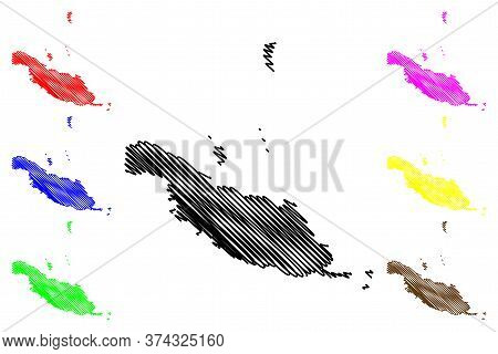 Makira-ulawa Province (provinces Of Solomon Islands, Solomon Islands, Island) Map Vector Illustratio