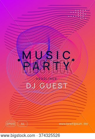Music Fest. Futuristic Show Cover Template. Dynamic Gradient Shape And Line. Music Fest Neon Flyer.