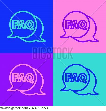 Pop Art Line Speech Bubble With Text Faq Information Icon Isolated On Color Background. Circle Butto