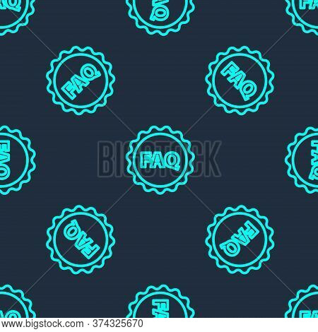 Green Line Label With Text Faq Information Icon Isolated Seamless Pattern On Blue Background. Circle