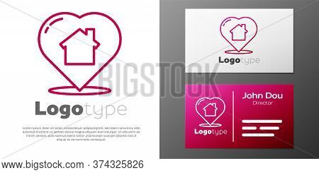 Logotype Line House With Heart Shape Icon Isolated On White Background. Love Home Symbol. Family, Re
