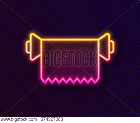 Glowing Neon Line Textile Fabric Roll Icon Isolated On Black Background. Roll, Mat, Rug, Cloth, Carp