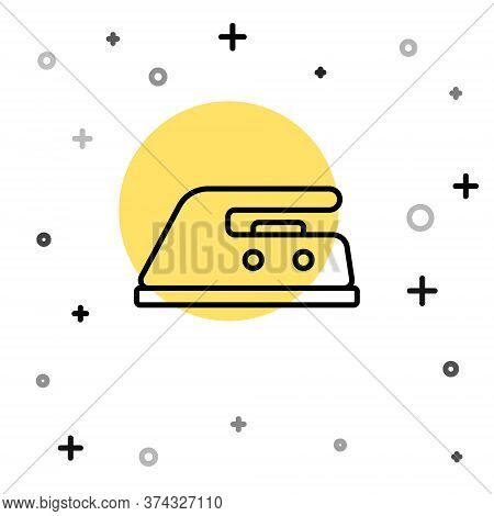 Black Line Electric Iron Icon Isolated On White Background. Steam Iron. Random Dynamic Shapes. Vecto