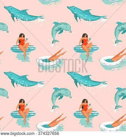 Hand Drawn Vector Abstract Summer Time Fun Seamless Pattern With Surfers Girl In Bikini , Dog On Sur