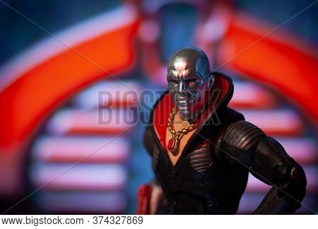 JUNE 30 2020: depiction of arms dealer Destro from the comic and cartoon series GI Joe - Hasbro Classified Series action figure