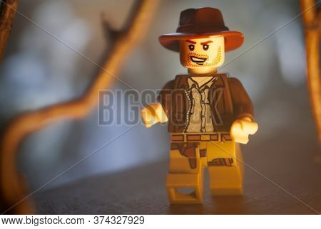 JUNE 27 2020:  Lego Mini figure depicting a scene from Raiders of the Lost Ark with Indiana Jones running through a jungle