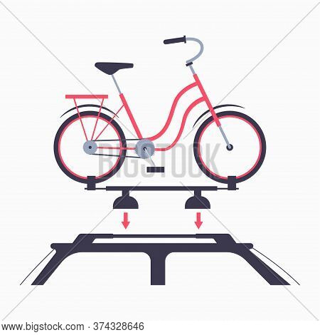 Bike Rack For Car Roof Vector Flat Illustration Isolated On A White Background.
