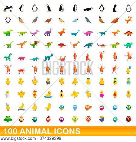 100 Animal Icons Set. Cartoon Illustration Of 100 Animal Icons Vector Set Isolated On White Backgrou