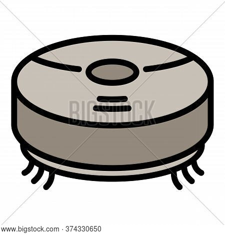 Robot Vacuum Cleaner Icon. Outline Robot Vacuum Cleaner Vector Icon For Web Design Isolated On White