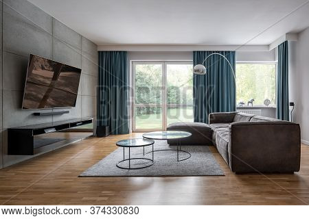 Living Room With Cement Wall