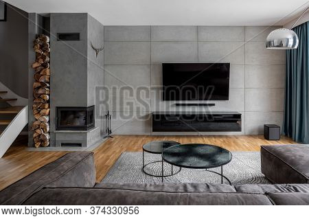 Tv Room With Cement Wall
