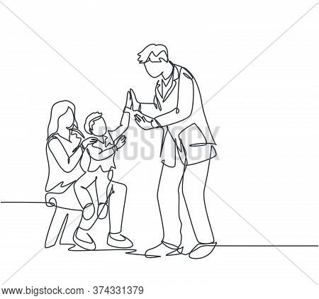Single Line Drawing Of Young Happy Father Visited By His Son And Wife At Office Then Giving High Fiv