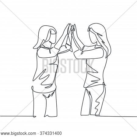Single Line Drawing Of Two Best Friends Girls Reunite And Giving High Five Gesture When Meeting At T