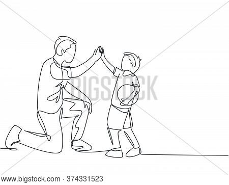 One Line Drawing Of Young Happy Father Bow His Body To Give High Five Gesture To His Boy And Giving