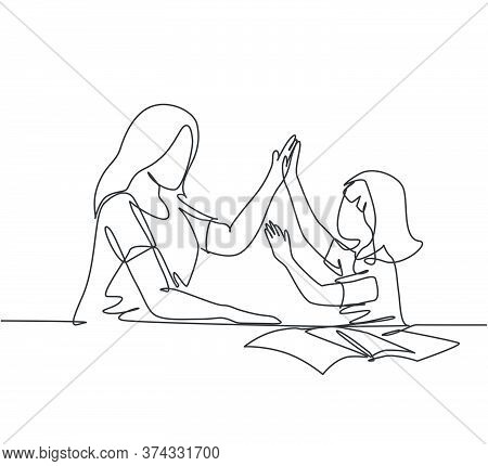 One Line Drawing Of Young Happy Mother Accompany Her Daughter Study Studying And Reading Book While