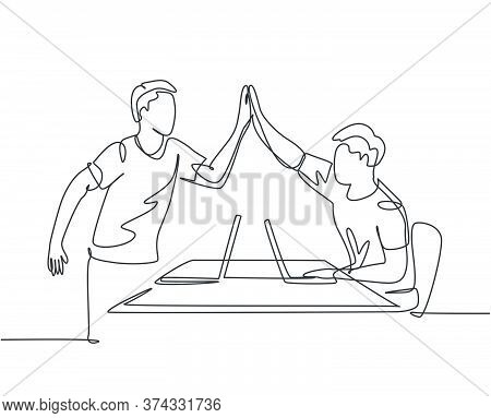 One Line Drawing Of Young Happy Start Up Founders Celebrating Their Successive Goal At The Business