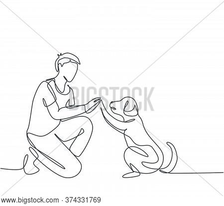 One Single Line Drawing Of Young Happy Boy Giving High Five Gesture To His Puppy Dog At Outfield Par