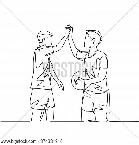 One Line Drawing Of Two Young Happy Man Playing Basket Ball On Outfield Court And Giving High Five G