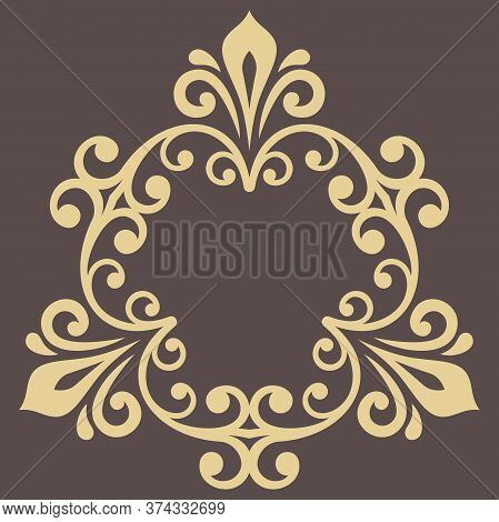 Oriental Vector Pattern With Arabesques And Floral Elements. Traditional Classic Golden Ornament. Vi