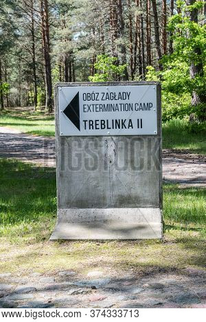 Wolka Okraglik, Poland - June 2, 2020: Signpost To Extermination Camp Treblinka Ii.