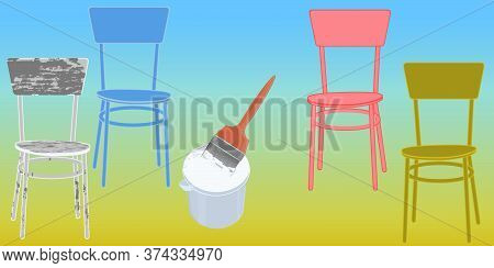 Paint Can, Brush, Chairs, One Old Ragged, Three - Vector. Banner Diy Home Repair.