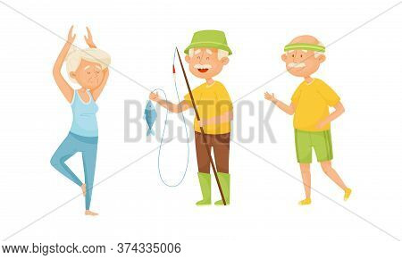 Old People Engaged In Different Activities Vector Set